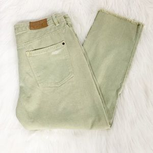 Zara | Olive Green Distressed Cropped Jeans